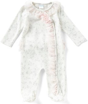 Edgehill Collection Baby Girls Newborn-6 Months Printed Ruffle Footed Coverall