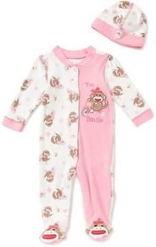Baby Starters Baby Girls 3-9 Months Sock Monkey Footed Coverall & Matching Hat Set