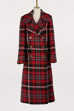 Red Tartan Long wool coat