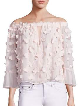 Alice McCall Love Conquer 3D Flower Off-The-Shoulder Top