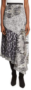 Andrew Gn Asymmetric Animal-Print Patchwork Skirt