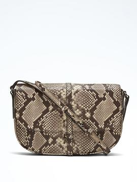 Snake-Effect Leather Half-Moon Crossbody