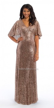 Camille La Vie Sequin Capelet Evening Dress