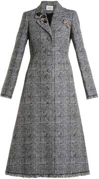 Erdem Dominique crystal-embellished checked coat