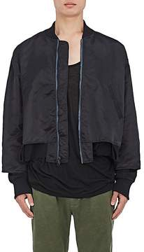 Longjourney Men's Cutout Tech-Satin Bomber Jacket
