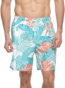 Croft & Barrow Big & Tall Tropical Palm Leaf Printed Swim Trunks