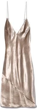 Fleur Du Mal Velvet Mini Slip Dress in Mushroom Velvet