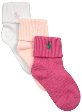 Ralph Lauren Girls' Triple Roll Socks, 3 Pack - Little Kid