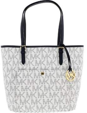Michael Kors Women's Large Jet Set Logo Leather Top-Handle Tote - White/Navy - WHITE/NAVY - STYLE