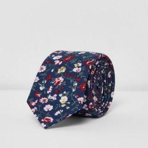 River Island Mens Navy blue floral print tie