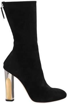 Alexander McQueen 105mm Suede Boots With Metallic Heel