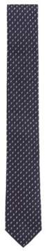 BOSS Hugo Floral-Embroidered Italian Silk Slim Tie One Size Dark Blue