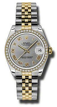 Rolex Datejust Lady 31 Grey Dial Stainless Steel and 18K Yellow Gold Jubilee Bracelet Automatic Watch