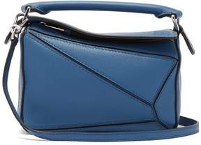 Loewe Puzzle Mini Grained Leather Cross Body Bag - Womens - Blue