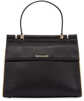 MICHAEL Michael Kors Jasmine Medium Leather Satchel Bag - Golden Hardware