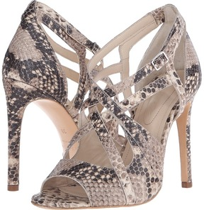 The Kooples High Sandals in Natural Embossed Python
