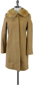 Banana Republic Camel Wool Blend Coat w/Fur Collar