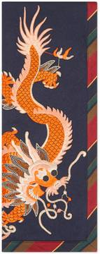 Silk cashmere scarf with dragon