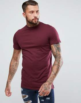New Look Longline T-Shirt In Burgundy