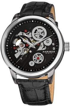 Akribos XXIV Akribos Manual Wind Skeleton Dial Black Leather Men's Watch