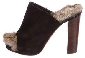Celine Suede Fur-Trimmed Mules