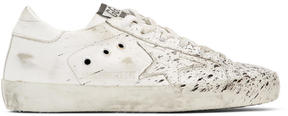 Golden Goose Deluxe Brand SSENSE Exclusive White and Black Superstar Paint Sneakers