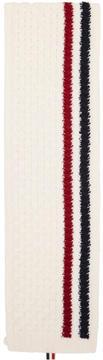 Thom Browne White Aran Cable Knit Stripe Scarf