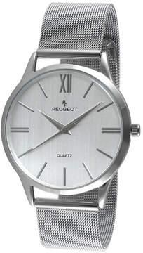 Peugeot Mens Gray Dial Stainless Steel Mesh Watch 1052SBK