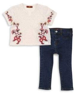7 For All Mankind Toddler's Two-Piece Embroidered Top & Skinny Jean Set