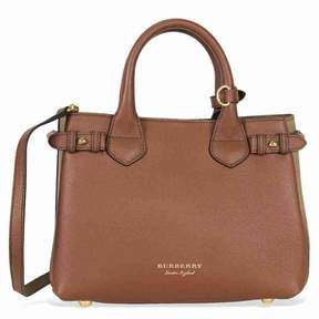 Burberry Small Banner House Check Leather Tote - Tan