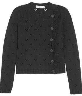 Valentino Ruffled Pointelle-knit Wool Sweater - Black