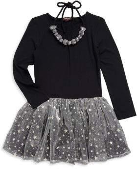 Imoga Big Girls' Star Tulle Skirt Dress & Necklace
