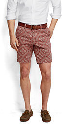 Lands' End Men's 9 Print Casual Chino Shorts-Classic Navy Lighthouse Print