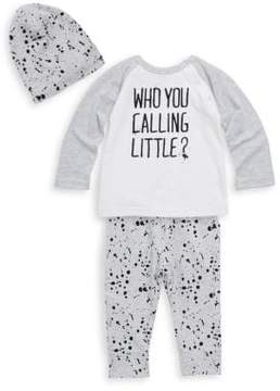 Petit Lem Baby's Three-Piece Raglan Top, Printed Pants and Hat Set