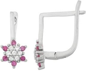 Junior Jewels Kids' Sterling Silver Cubic Zirconia Flower Drop Earrings