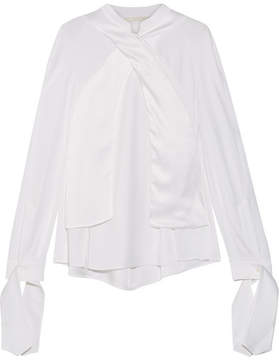 Antonio Berardi Satin-paneled Crepe De Chine Blouse - White