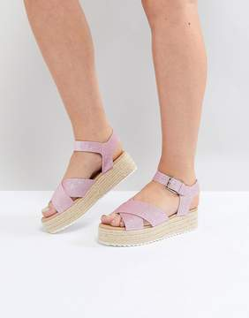 Head Over Heels by Dune Flatform Espadrille with Pink Glitter Straps