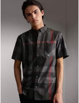 Burberry Short-sleeve Check Stretch Cotton Blend Shirt