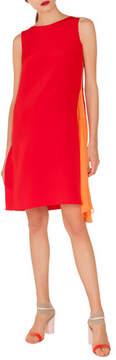Akris Round-Neck Sleeveless Silk Crepe Dress with Side Panel