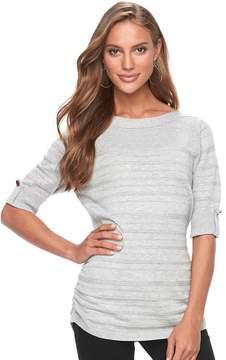 Apt. 9 Women's Shadow-Stripe Ruched Sweater