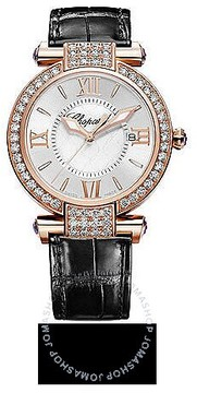 Chopard Imperiale Diamond Mother of Pearl Dial 18 kt Rose Gold Black Leather Ladies Watch