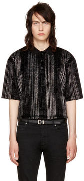 Saint Laurent Black Striped Glitter Polo