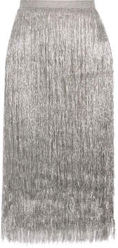 Rachel Zoe Delilah Metallic Fringed Midi Skirt - Silver