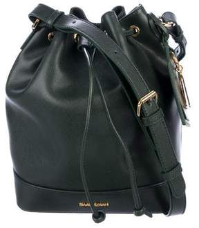 Isaac Mizrahi Leather Drawstring Bucket Bag