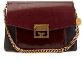 Givenchy Gv3 Small Suede And Leather Cross Body Bag - Womens - Burgundy Multi