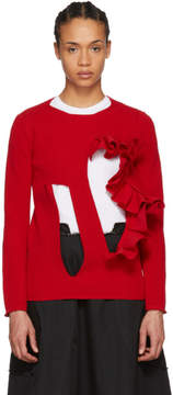 Comme des Garcons Red Cut-Out Sweater