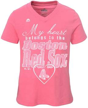Majestic Girls 7-16 Boston Red Sox My Heart Belongs To Tee
