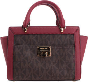 Michael Kors Brown & Cherry Logo Canvas Satchel - BROWN - STYLE
