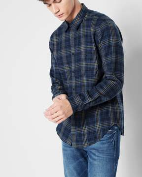 7 For All Mankind Long Sleeve Plaid Shirt in Navy