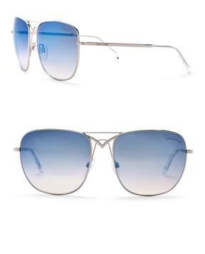 Roberto Cavalli 59mm Metal Square Aviator Sunglasses